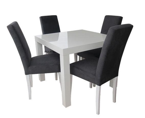 Kwadratowy stół w całości + 4 krzesła biały połysk wymiary rozkładane