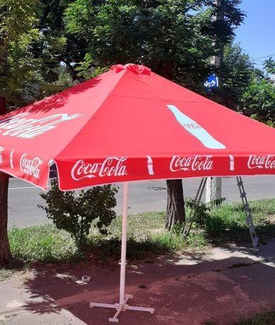 Зонт 4х4 метра, каркас б/у, тент новый, тросовый, торговый 4 трубы