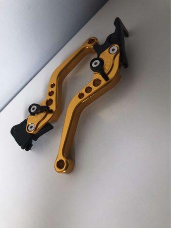 Klamki- dźwignie motocyklowe, złote, regulowane