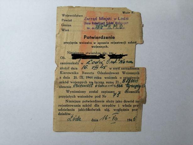 Potwierdzenie rejestracji szkód wojennych 1945 rok