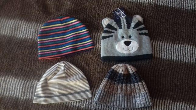 Весение шапочки до года в полоску, весняні шапки хлопчику, двойная шап
