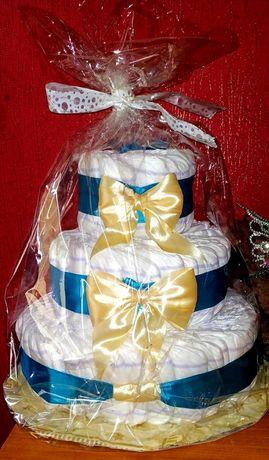 Торт из памперсов. Подгузники.  Подарок на виписку.Haggis Elite Soft