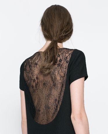 вечернее маленькое чёрное платье Zara с прозрачной кружевной спиной XS
