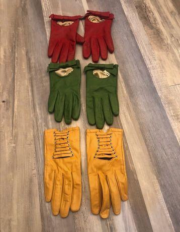 Rękawiczki 3 pary skóra cielęca