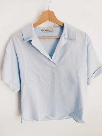 Nowa błękitna koszula na krótki rękaw XS- S ZARA