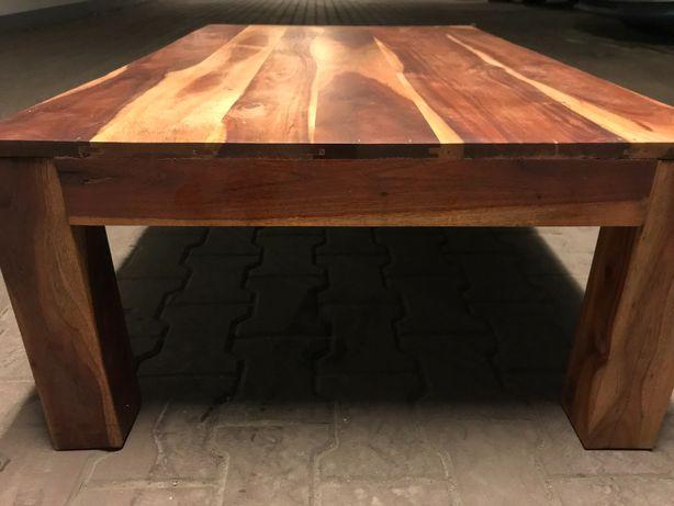 Stolik kawowy Almi Decor 125x75x40, brązowy, drewniana ława, używana