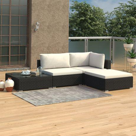 vidaXL 4 pcs conjunto lounge de jardim c/ almofadões vime PE preto 46778