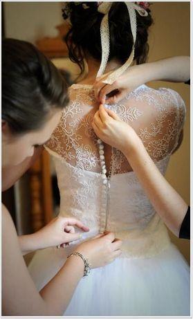 Suknia Ślubna - tiul, koronka, princesska, rozmiar 36 - 38