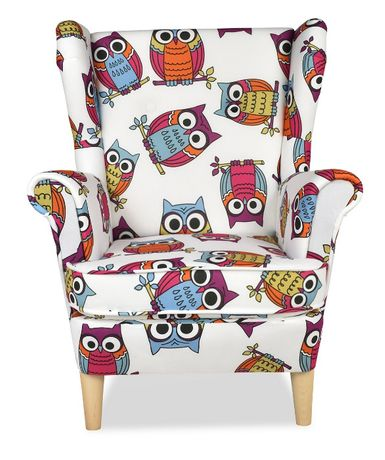 Fotel uszak MINI dla dzieci dziewczynki kolorowe sowy przedszkole