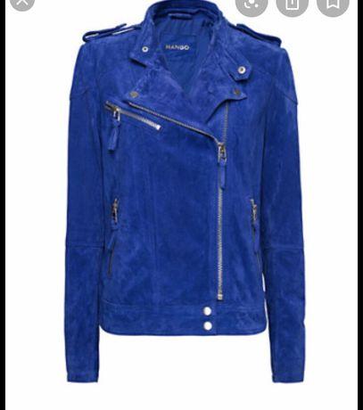 Куртка косуха замшевая электрик синяя mango