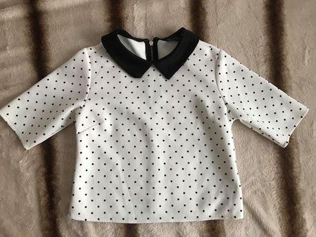Biała bluzka crop top w czarne kropki r.36