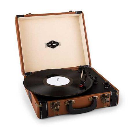 Auna Jerry Lee Gramofon w stylu retro USB brązowy