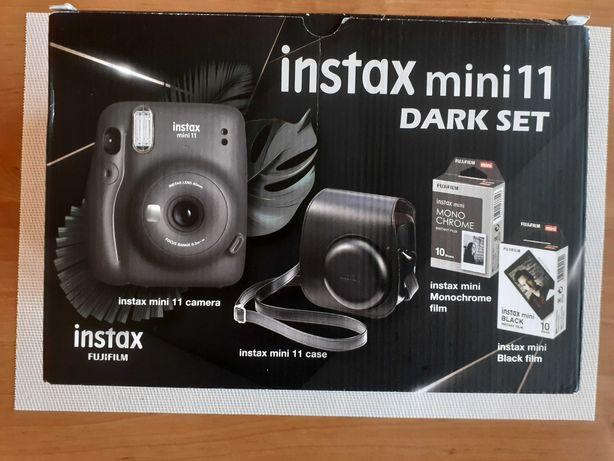 Instax mini 11 dark set - aparat, etui, 20 wkładów do aparatu