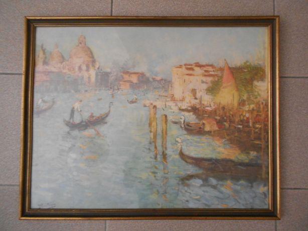 Bonito quadro com vidro de paisagem veneziana - Reprod. (76 x 59 cm).