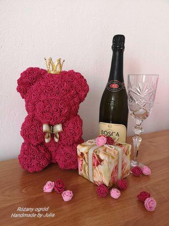 Miś z róż 25 cm Handmade