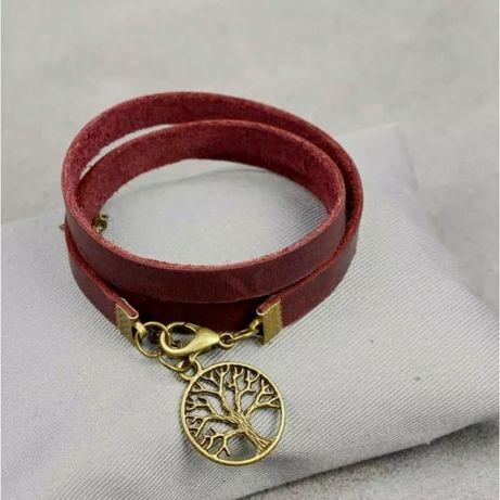 Жіночий шкіряний браслет -стрічка бордовий або світло-коричневий
