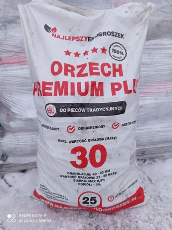 Węgiel Orzech Premium Plus 30MJ/kg Gruby Suchy Workowany Transport HDS