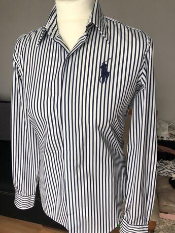 Koszula RALPH LAUREN Sport r. 4 w paski na guziki duże logo NOWA