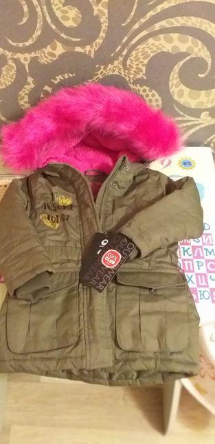 Куртка парка теплая для девочки 92-98 р весна/осень/еврозима