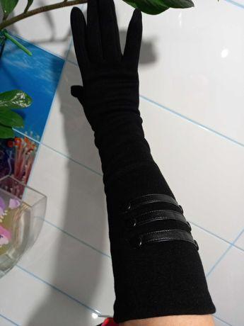 Перчатки длинные черные теплые