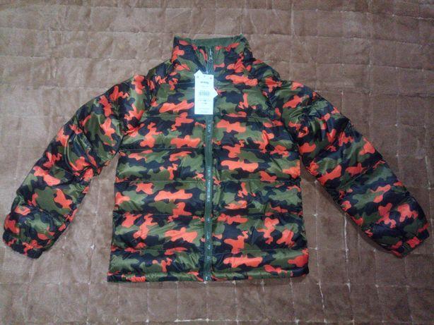 Двусторонняя стёганая куртка для мальчика размер 140, деми/еврозима