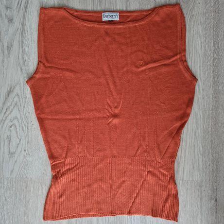 Vintage Burberrys sweater top sleeveless laranja orange Senhora vntg