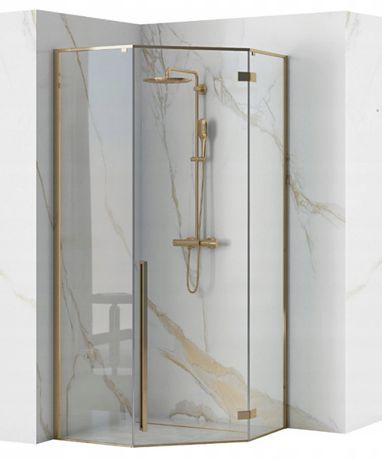 Kabina prysznicowa Diamond REA PIĘCIOKĄTNA ZŁOTA RAMA 90x90
