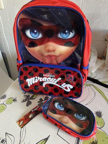 Mochila escolar Lady Bug Miraculous + Estojo