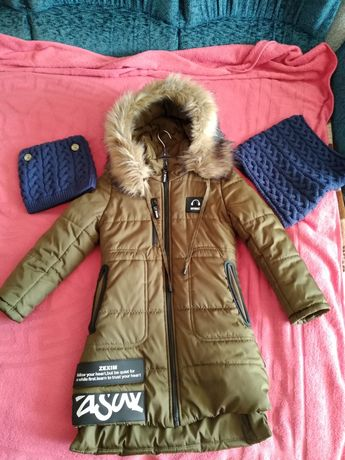 Зимняя куртка на девочку, хомут и шапочка проданы
