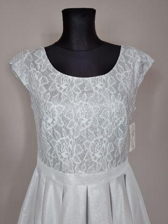 Sukienka biel srebro CARLA 40 L