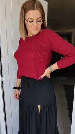 Camisola de malha vermelha curta