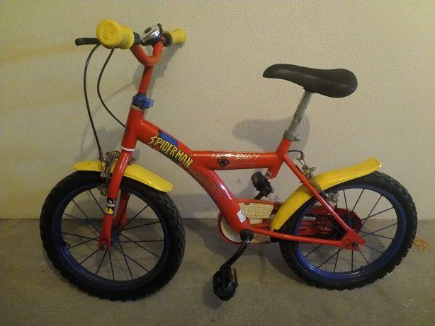 Bicicleta criança roda 16 Spiderman rodinhas incluidas