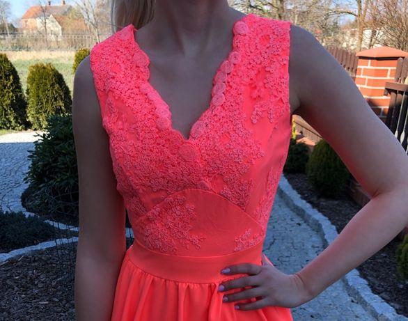 Neonowa pomarańczowa sukienka z koronką (rozmiar 34 - XS)