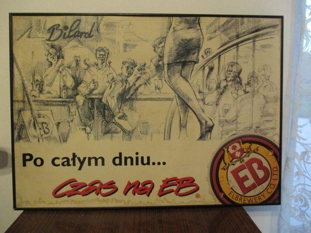 Stara reklama piwa EB początek lat 90' malowana Unikat Gadżety piwne