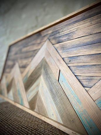 Obraz z drewna Drewniana mozaika Wooden picture Hand made 96x33,5 cm
