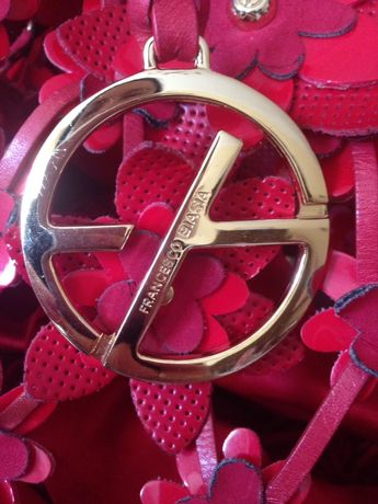Czerwona torebka koszyk Francesco Biasia unikat vintage