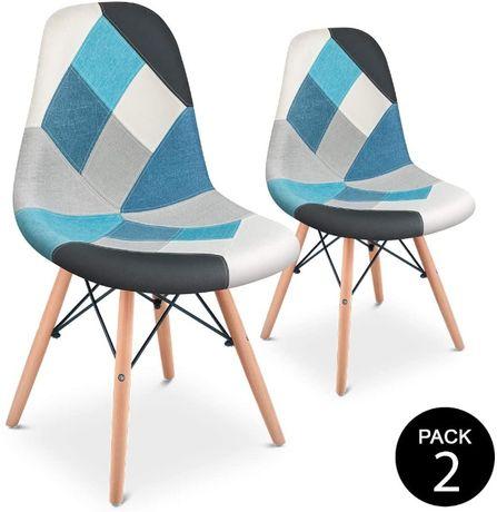 Pack Cadeiras Tower Eames Patchwork Azul Design Vintage - Cadeira