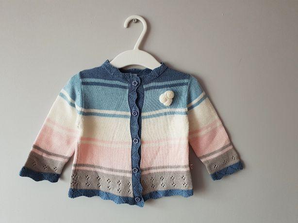 Super sweterek COCCODRILLO 74 na 6-9M zapinany dziergany