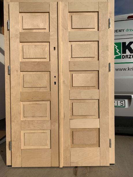 Drzwi zewnętrzne drewniane dwuskrzydłowe na wymiar OD RĘKI CAŁY KRAJ