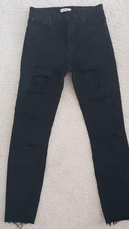 Czarne spodnie z dziurami ZARA