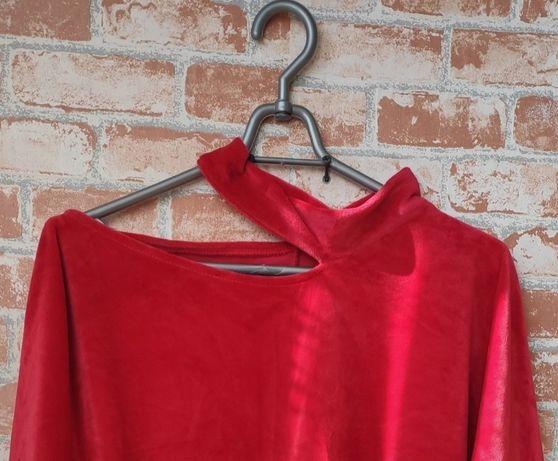 bluzka   welurowa   welur   czerwień   kimono   nietoperz   rozmiar un