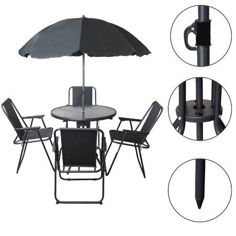 Zestaw Meble Ogrodowe Czarny Parasol 4 Krzesła Stół Zestaw Ogrodowy