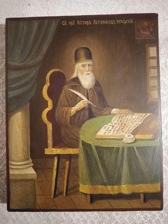 Старинная икона Святой Преподобный Нестор летописец Печерский