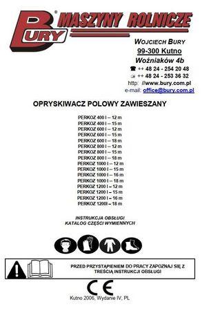 Instrukcja obsługi i katalog części opryskiwacza Perkoz