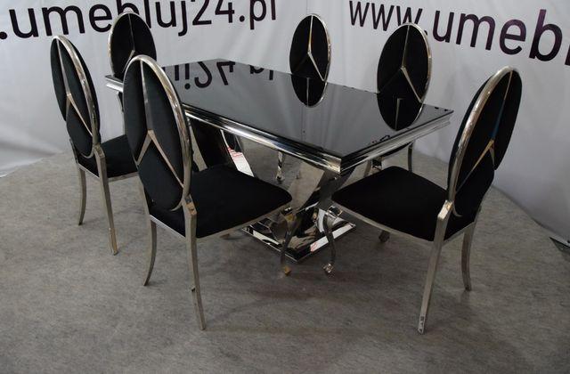 Jadalnia glamour stal srebro polerowana SG 893 180cm/90cm+ 6 krzeseł