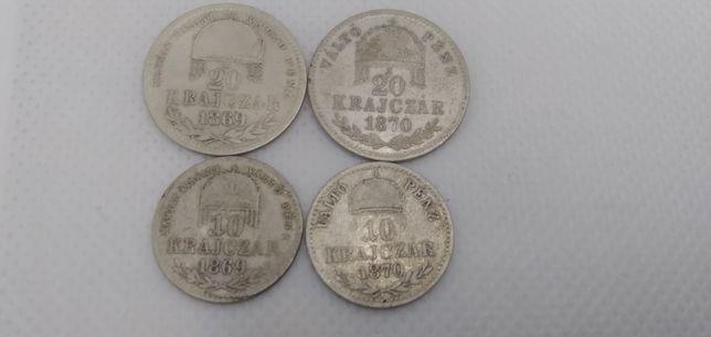 Срібні крейцери Угорщини 10, 20 крейцерів Австро-Венгрия Франц Йосиф