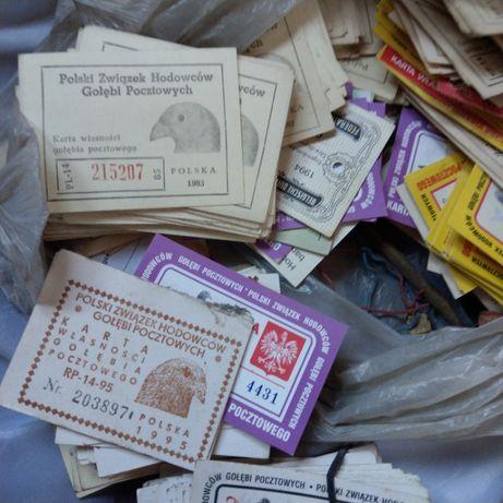 Karta karty gołebia pocztowego od 1981do 2003 kilkaset szt cena calość