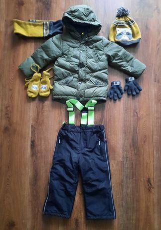 Kurtka zimowa ze spodniami ze Smyka rozm.92, czapka, szalik, rękawiczk