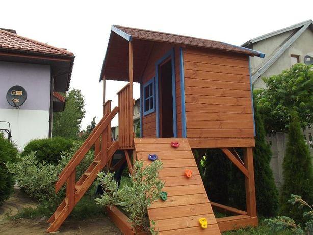 Drewniany domek dla dzieci plac zabaw zjeżdżalnia huśtawka piaskownica