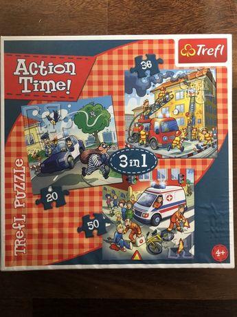 Puzzle x 3, straż, policja, karetka
